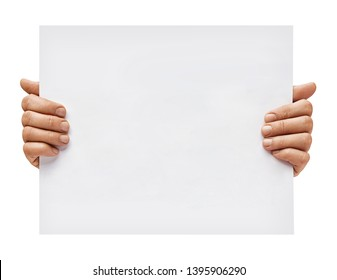 Copy space for your text. Man's hands holding empty board isolated on white background. Close up. High resolution