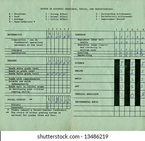 A copy of a vintage elementary school report card.
