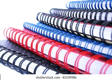Copybook stack isolated on white background.