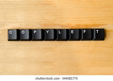 Copyleft word with keyboard buttons