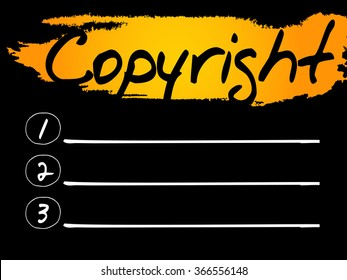 Copyright Blank List, concept background