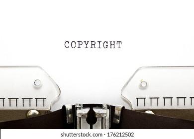 Copyright printed on an old typewriter.