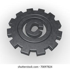 copyright symbol in gear wheel - 3d illustration