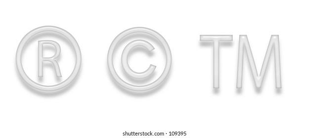 Copyright and Trademark symbols with glass appearance.