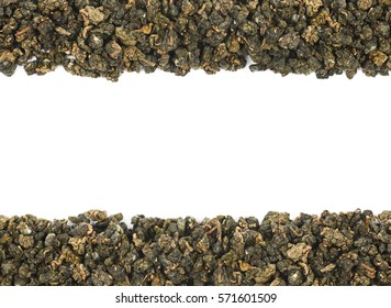 Copyspace backdrop composition with the borders made of the dried green tea leaves isolated over the white background