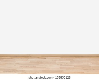 Copyspace background with an empty white wall with a hardwood wooden floor below with large copy space for your text or advertisement