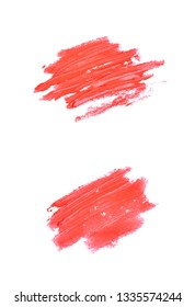 Copyspace banner splash of a wax crayon paint strokes isolated over the white background, set of two different foreshortenings