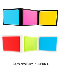 Copyspace banner template as bent colorful glossy plastic three part stand isolated on white background, set of two