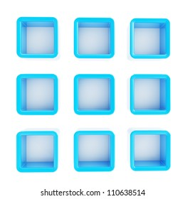 Copyspace cube square blue plastic shelf boxes in nine foreshortenings isolated on white