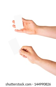 Copyspace empty visiting calling card in a caucasian hand isolated over white background, set of two foreshortenings