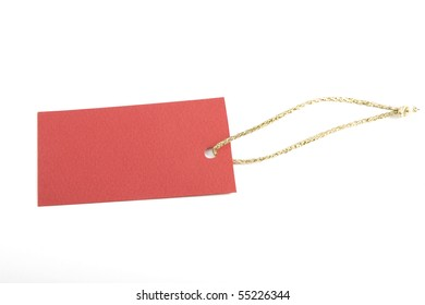 copy-space on red blank tag, shopping notice