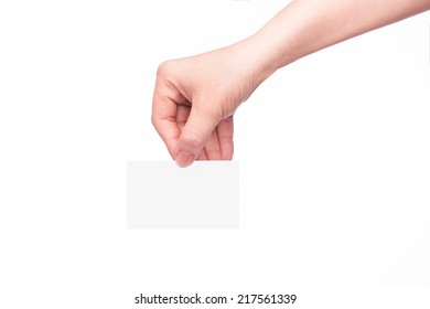 Copy-spaced Business card in female hand. Studio isolated. With clipping path