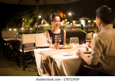 Copy-spaced image of a couple in-love having romantic dinner