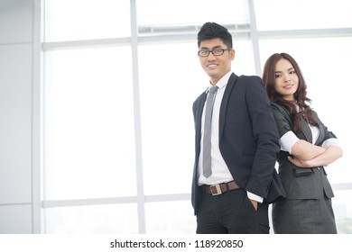 Copy-spaced portrait of an enthusiastic business team with positive attitude