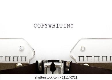 Copywriting headline printed on an old typewriter.