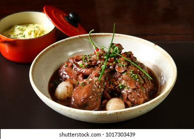 Coq au Vin, classic French dish