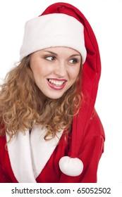 Coquette Santa Claus over white background