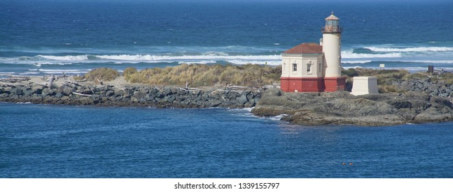 Coquille River Lighthouse on the waterfront of Bandon, Oregon