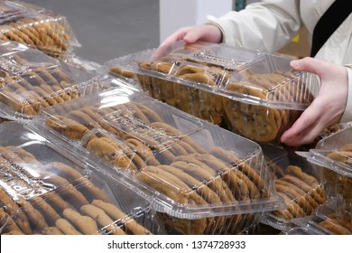 Coquitlam, BC, Canada - February 20, 2019 : Motion of people buying cookie inside Costco store