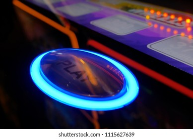 Coquitlam, BC, Canada - June 12, 2018 : Motion of play button on slot machine inside Casino