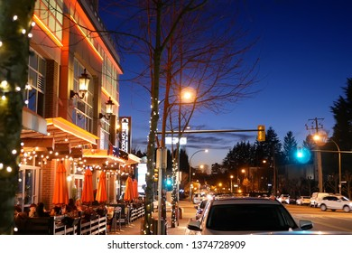 Coquitlam, BC, Canada - March 20, 2019 : Outside shot of Browns socialhouse restaurant at night