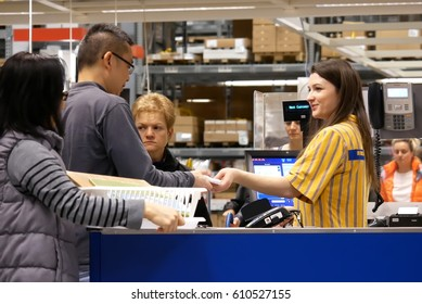 Coquitlam, BC, Canada - March 25, 2017 : One side of check out counter inside Ikea store in Coquitlam BC Canada