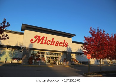 Coquitlam BC, CANADA - October 8: Michaels October 8, 2013, BC, Canada. Michaels currently operates more than 1040 Michaels Arts and Crafts stores, located in 49 US states and Canada