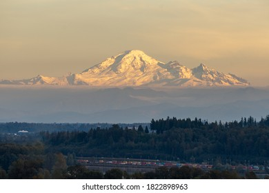 Coquitlam, British Columbia - September 27, 2020: View of Mount Baker, Washington at sunset from across the Canada/US border.