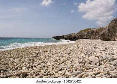 Coral beach on the west coast of the tropical island Bonaire in the former Dutch Antilles