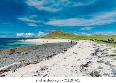coral beach Skye island in Scotland, like tropical paradise