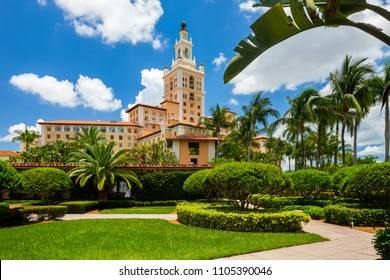 Coral Gables, FL USA - June 4, 2018: The historic and luxurious mediterranean style Biltmore Hotel built in 1925 is a popular tourist destination in Miami.