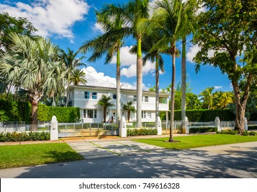 Coral Gables, Florida - November 6, 2017: Classic art deco architecture style home in the historic City of Coral Gables located in Miami.