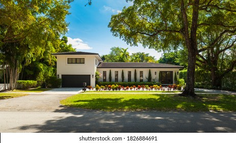Coral Gables, Florida USA - April 3, 2014: Modern luxury estate home in this centrally located Mediterranean style community in Miami.