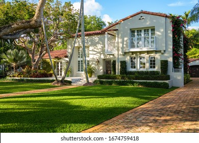 Coral Gables, Florida USA - March 16, 2020: Classic Mediterranean architecture style home in the historic City of Coral Gables located in central Miami.