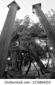 CORAL GABLES FLORIDA, USA  OCTOBER 26 2012:  Statue Samson destroyed Dagon temple
