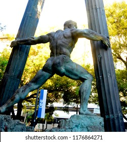 CORAL GABLES FLORIDA, USA  OCTOBER 26 2012:  Statue Samson destroyed Dagon temple