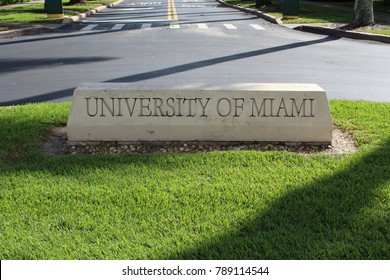 Coral Gables FL/USA: Nov 30, 2017 – Carved stone sign greets visitors to The University of Miami which is a private nonsectarian research university in Coral Gables Florida.