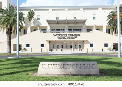 Coral Gables FL/USA: Nov 30, 2017 – Carved stone sign greets visitors to the University of Miami and Watsco Center which is home to the University of Miami Hurricanes basketball teams.