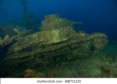 Coral growth on the hull of a sunken WWII cargo ship, Gosei Maru, at Truk Lagoon