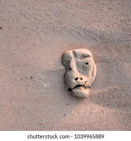 Coral on sand with a strange shape of head