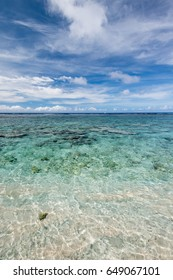 Coral reef of the Coco Palm Garden Beach in Guam, USA. The beach is one of the famous tourist attractions in Guam.