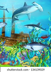 The coral reef with ship wreck - illustration for the children