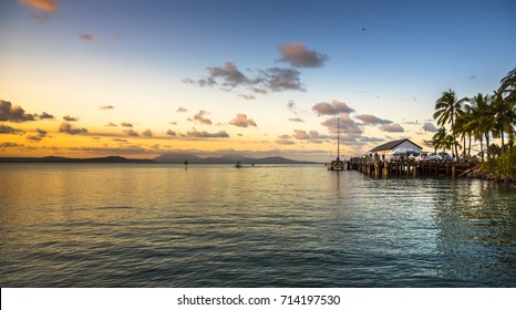Coral sea tropical sunset clear calm afternoon Port Douglas great barrier reef