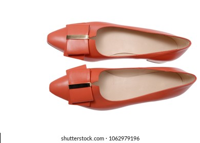 coral shoes with bows top view