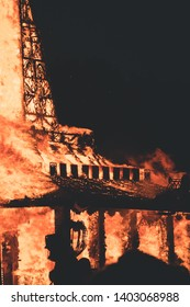 Coral Springs, Florida USA - May 19. 2019: Ceremonial burning of The Temple of Time to honor the victims of the mass shooting at Marjory Stoneman Douglas High School. Peoples watching Ceremony.