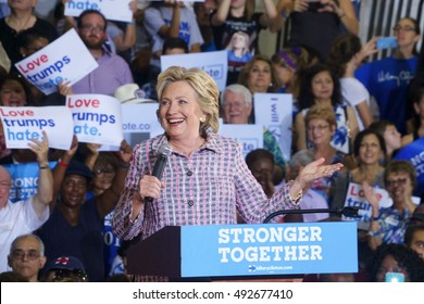 Coral Springs, FL/USA September 30, 2016: Secretary Hillary Clinton addresses the supportive crowd gathered at the Coral Springs Auditorium.