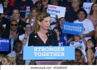 Coral Springs, FL/USA September 30, 2016: Congresswoman Debbie Wasserman Schultz addresses the crowd at the Hillary Clinton Organizers Campaign event in Coral Springs, FL.