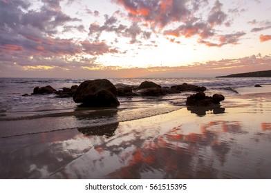 Coral sunset on the beach. Tenerife. Canary islands. Spain