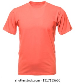 Coral trendy color shortsleeve cotton T-Shirt on hollow invisible mannequin isolated on a white background