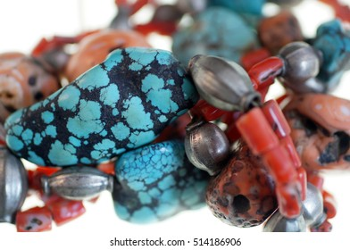 Coral, turquoise and silver necklace from Tibet